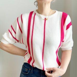 Vintage Helen Harper White Red Sweater Size M